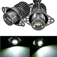 Pair 12V 80W LED Angel Eyes Halo Ring Headlight per BMW E90 E91 6000K White