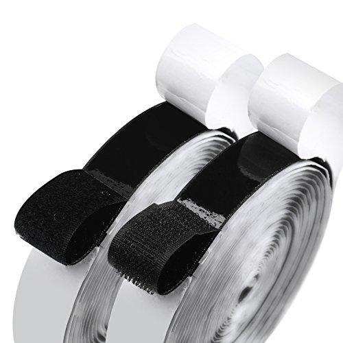 2,5cm Breite Selbstklebende Haken- und-Loop Sticky Back Tape Verschluss 16Füße schwarz