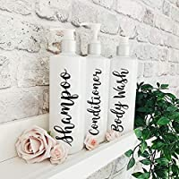 White And Black Refillable Reusable Personalised Pump Dispenser Bottles For Shampoo, Conditioner, Body Wash. Mrs Hinch Inspired.