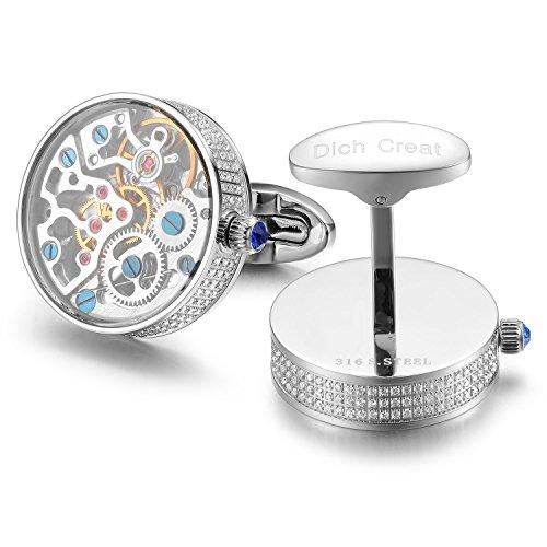 Dich Creat Herren Rhodium Überzogene Hand Made Inlay Juwelen Mechanische Arbeitsbewegung Manschettenknöpfe mit Glas bedeckt