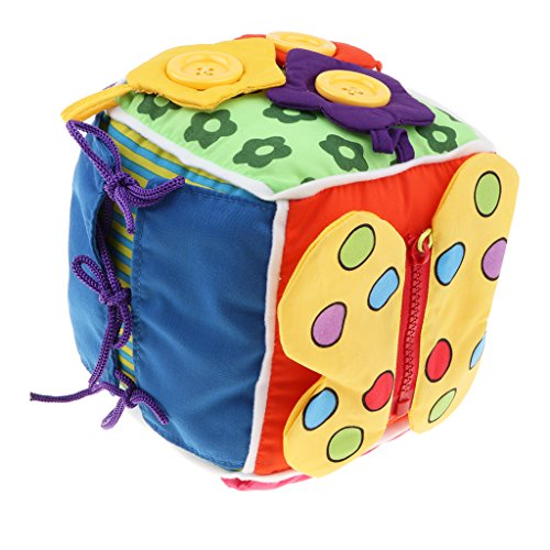 Homyl Juguete Montessori Rompecabezas de Cubo de Botón Zip Hebilla a Presión Lazo Cordón Juego Cognitivo para Niños