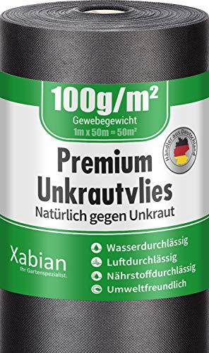 Xabian Anti Unkrautvlies 100g/m² Filtervlies Rolle 50m x 1m = 50m² I Gartenvlies mit hoher UV-Stabilisierung - sehr reißfest und wasserdurchlässig