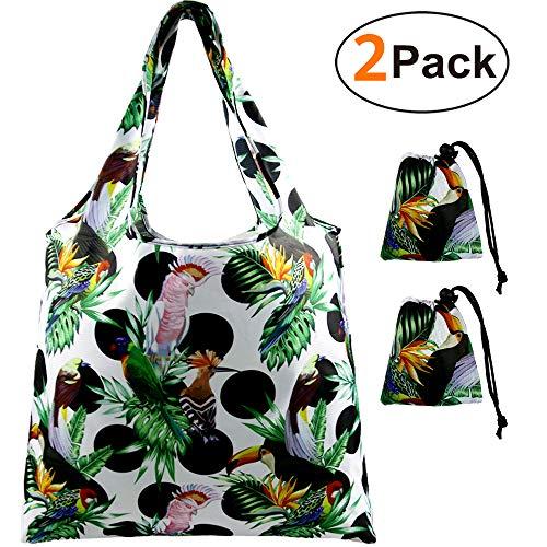 Shopper-Tasche-Einkaufstaschen-Faltbar-Reißfest Shopping Bags 2 Stück, mit mini Kordel Beutel, Wiederverwendbare Einkaufsbeutel für Frauen, Leicht & Stabil Einkaufstüten, Waschbar & Wasserdicht