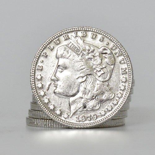 Morgan Silver Finish 1879 Replik Dollar Größe (Silber) für echte Münze Zaubertrick