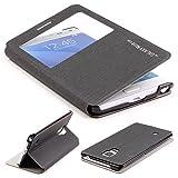 Étui Galaxy Note Edge, Urcover Cross Pattern Housse [avec fenêtre] Coque Samsung Galaxy Note Edge Fermeture Magnétique Noir 1 View Cover Smartphone