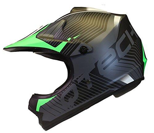 Casco MOTOCROSS per Bambino Moto Cross Enduro ATV MX BMX Quad Nero Opaco - Verde - M (55-56cm)