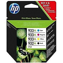 HP 932XL/933XL C2P42AE pack de 4, cartouches d'encre d'origine, noir, cyan, magenta et jaune