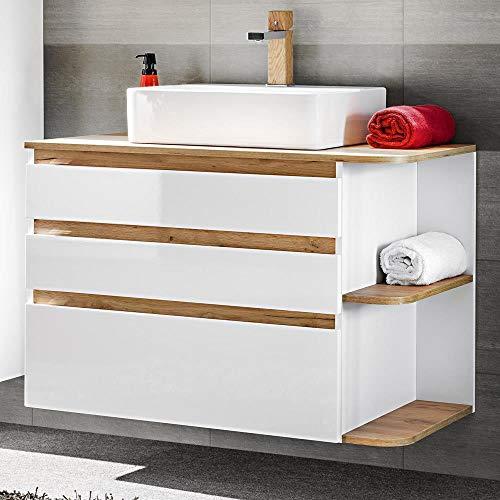 #Lomadox Badezimmer Waschtischunterschrank Hochglanz weiß mit Wotaneiche, inkl Keramik-Aufsatz-Waschbecken#