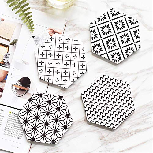 XOSHX (4 Piezas) Cerámica de cerámica de Estilo nórdico Creativo Impresión geométrica...