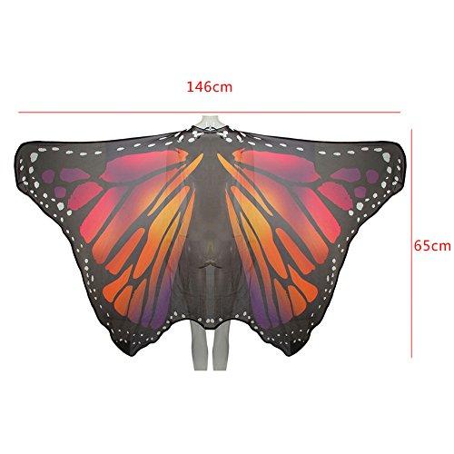 Ruick Chiffon Herrscher Schmetterling Flügel Schal Fairy Damen Nymphe Pixie Kostüm Zubehör Requisiten Violett (Violett Pixie Kostüm)