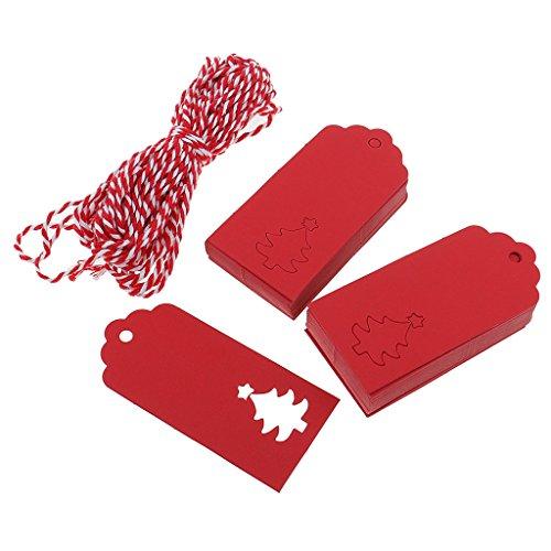 Homyl Weihnachtsbaum Geschenk Anhänger 100stk. mit Juteschnur Geschenkanhänger Papier Etiketten Tags Anhängeschilder Eintrittskarten - Rot, 5 x 9,5 cm