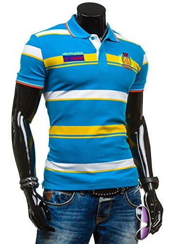 BOLF T-Shirt Kurzarm Poloshirt Polohemd Shirt Herren Figurbetont LT 4014 Türkis