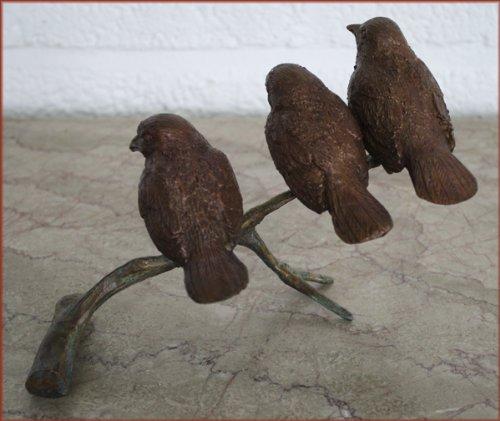 3 Spatzen auf Ast aus Bronze