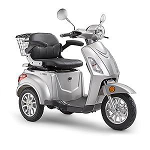 Elektroroller LuXXon E3800 – Elektro Dreirad für Senioren mit 800 Watt, max. 20 km/h, Reichweite bis zu 60 km, silber