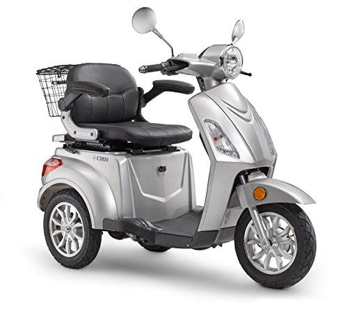 elektroroller senioren Elektroroller LuXXon E3800 - Elektro Dreirad für Senioren mit 800 Watt, max. 20 km/h, Reichweite bis zu 60 km, silber