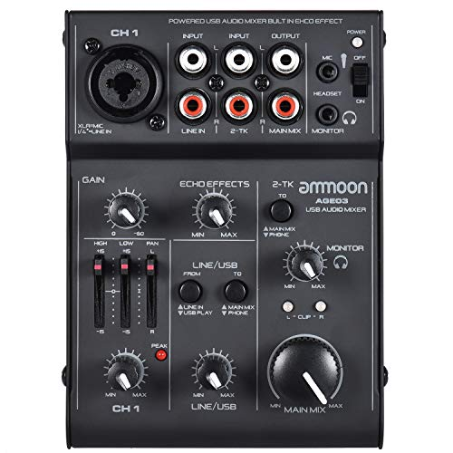 ammoon Mischpult Mixer AGE03 5-Kanal Mini Mic-Line Mixer mit USB Audio Interface Eingebauter Echo Effekt USB Powered für die Aufnahme DJ Network Live Sendung Karaoke (Dj-audio-recorder)