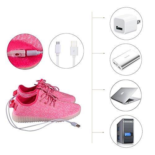 Shinmax Scarpe LED Carica USB 7 Colori Lampeggiante Unisex da Tennis per il Giorno di Natale del Regalo del Partito di Promenade con Certificato CE Scarpe con Luci Rosa