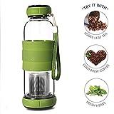 #10: Livzing Green Tea Detox Water Bottle with Strainer Stainless Steel Infuser,Heat Resistant Filter Maker 420 ml - Assorted Color