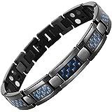 Willis Judd Mens Black Titanium Four Element Magnetic Bracelet With Blue Carbon Fibre In Black Velvet Gift Box + Free Link Removal Tool