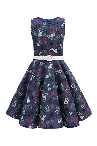 BlackButterfly Kinder 'Audrey' Vintage Rockstar Kleid im 50er-J-Stil (Denim, 7-8 J / 122-128) (Die Rock Rockstar-braut)