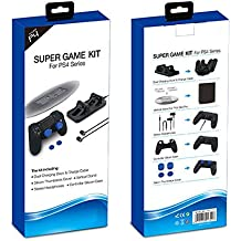 Microware Super Game Kit For Sony PlayStation PS4/PS4 Slim/PS4 Pro (Dual Charging Dock, Vetical Stand,Headphones,Controller Silicon Case And Thumbstick Cover)