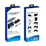 #2: Microware Playstation 4 PS4 Super Game Kit For Ps4 Series (New) Dual Charging Dock & Cable, Silicone Thumbstick Cover, Vertical Stand, Stereo Headphones, and Controller Silicon Case