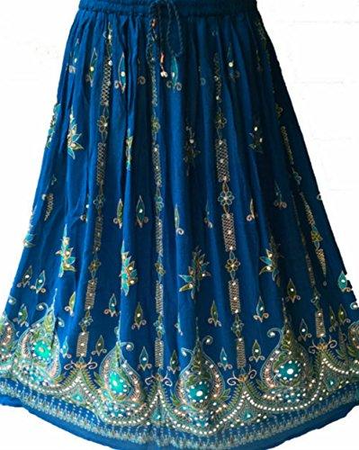 Damen Indianer Boho Hippie Gypsy lang Pailletten Rock | Tanzen Röcke | Tänzerin Welt Blau (Zu Preisen Kostüme Günstigen Tanz)