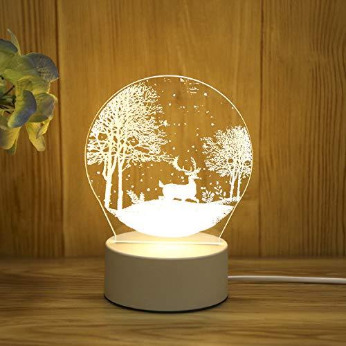 Creativo 3d luce notturna led regalo luce occhio lampada da tavolo camera da letto plug-in lampada da comodino regalo cervo di neve spina a tre colori luce 220v