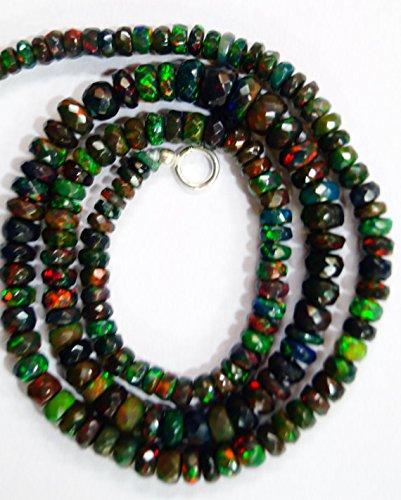 Natur Gem Stone schwarz Äthiopische Opal Halskette facettierte Perlen Komplett Top Rainbow Fire blinkende 43,2cm 3bis 5mm (Rainbow Jewel Halskette)