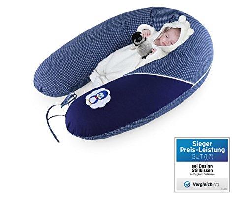 Sei Design Baby Stillkissen Schwangerschaftskissen XXL 190 x 30cm Füllung aus3-D Faserbällchen - sehr weich und angenehm. Bezug mit Reißverschluss und hochwertiger Stickerei. (Jeansblau-Pinguin)