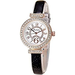 Fashion Rhinestones PU Strap Quartz Women Wrist Watch,Black
