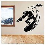 Adesivo Da Parete Snowboard Sport Invernali Ragazzi Hobby Wallpaper Casa Decalcomanie Camera Da Letto Adesivi Murali Smontabili Per La Stanza Dello Sport Murales In Vinile 55X57Cm