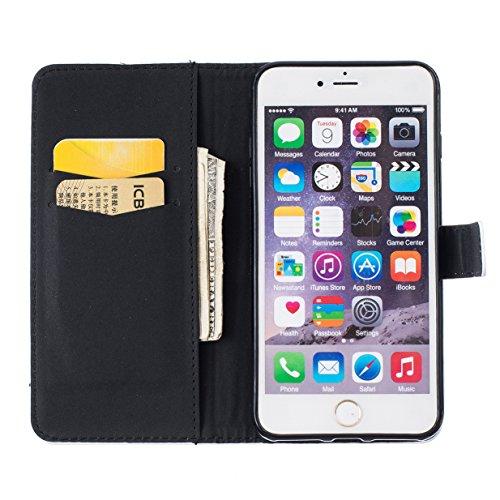 WYSTORE Étui pour Apple iPhone 7 PU Cuir Flip Folio Cover Case Housse avec Stand Support et Fente pour Carte et Arrière Coque de protection - Campanula plume cyclisme pissenlit