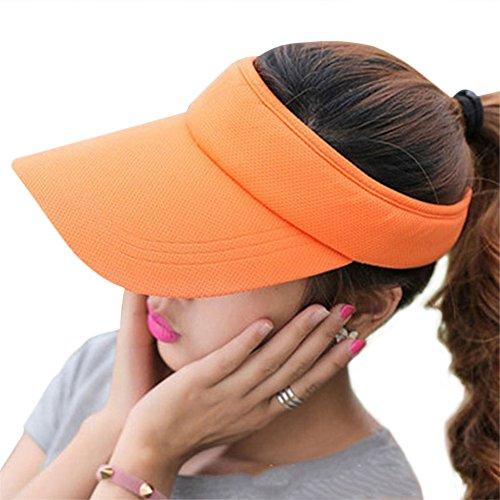 Fasbys Summer Outdoor Sports Beathable Long Brim Empty Top Baseball Sun Cap Hat Visor (Orange) Plaid Visor Cap