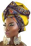 Ababalaya Damen Extra lang Traditionell Afrikanisches Wachs Kopftuch Krawatte African Wax Head Wrap Tie 90×110 cm,19