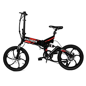 Ancheer Electric Folding Bike, 20 Inch Waterproof Foldable Ebike with 36V 8Ah Removable LG Battery and 250W motor, Full suspension and 6 Spokes Integrated Wheel from Ancheer