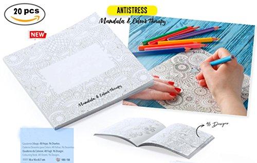 DISOK Lote de 20 Cuadernos para Colorear Dibujos Mandalas con 48 Hojas y 96 Diseños Cada Cuaderno