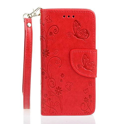 EUWLY Custodia Cover per iPhone 5S/iPhone SE, EUWLY Luxury Puro Colore Cover Case in PU Leather per [iPhone 5S/iPhone SE] Modello Goffratura Fiore Farfalla Design Bumper Portafoglio Custodia Super Sot Farfalla,Rosso