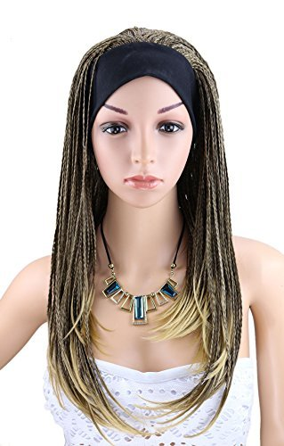 Kalyss Damen Long Mix Brown Blonde Braid Perücke mit Band African Afro Stil geflochtene Stirnband Perücken (Blonde Afro Perücke)
