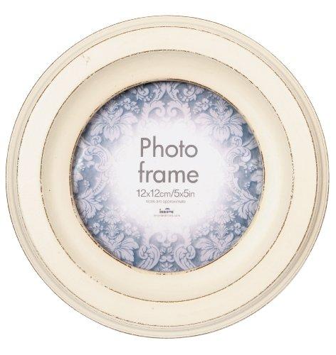 Set 2 Stk Fotorahmen CASA CIRCULAR (3732-2) MDF Holz Vintage Weiß 12,5x12,5cm -Gesamtgröße ca. 21x21 cm-Portraitrahmen Bilder-Rahmen - Runde Kinder, Bilderrahmen