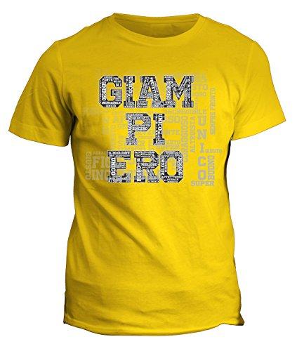Tshirt Compleanno Giampiero nome del festeggiato maglietta unica e originale - eventi - idea regalo - in cotone Giallo