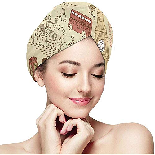 London Symbole mit Elizabeth Tower (Big Ben) Trockentuch Haare für Kinder Turban Haare für die Haarpackung Hair Drying Wrap