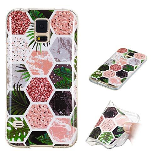 Yunbaozi Marmor Hülle für Samsung Galaxy S5 Schlank Weich Gummi Case Stoßstange Löschen Matte Drucken Natürliche Textur Anti-Scratch Shock Geometrische Muster, Regenwald