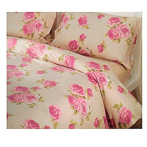 Caleffi Completo Copripiumino Lenzuola Matrimoniale Beatrice Floreale Rose Colore Beige Rosa (Sacco Copripiumino 250x200, Lenzuolo sotto 175x200, Due federe 50x80)