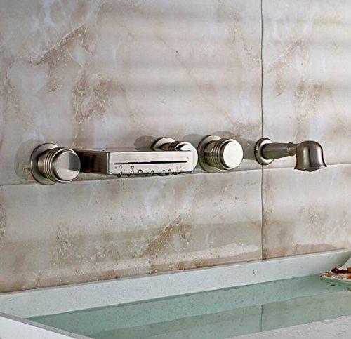 Gowe Wand montiert LED-Licht Badezimmer Badewanne Wasserhahn Set Nickel gebürstet Wasserfall Badewanne Armatur mit Handbrause -