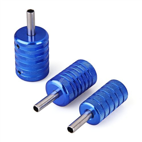 SODIAL(R) 3x blau Tattoo Griffstueck Griff Grip fuer Tattoomaschine Alu 25/30/35mm