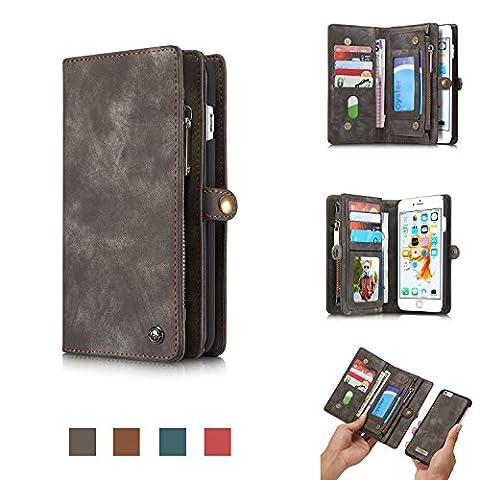 CaseMe Étui portefeuille multifonction en cuir véritable de qualité supérieure avec rabat amovible, boutons magnétiques, fermeture Éclair pour iPhone