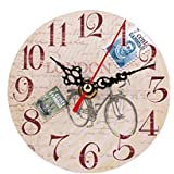FEITONG Estilo Vintage reloj de pared silencioso de madera antiguo (D)