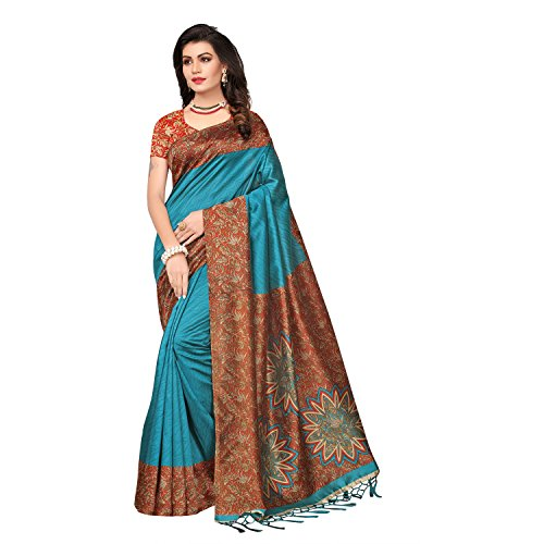 Mrinalika Fashion Women\'s Art Silk Saree With Blouse Piece (Srja008_Blue)