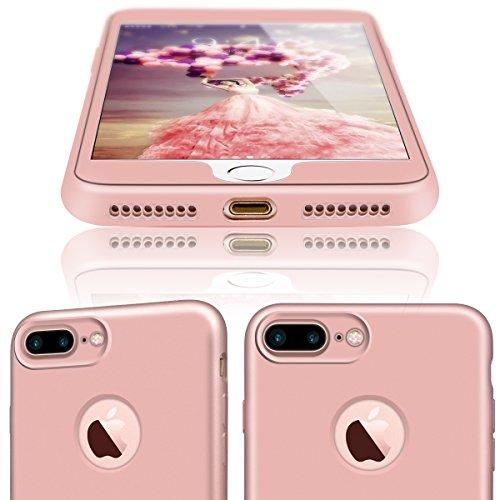 GrandEver iPhone 7 Plus Hülle Weiche Silikon Handyhülle 360 Grad Schutz TPU Bumper Full Body Komplettschutz Schutzhülle für iPhone 7 Plus Rückschale Klar Handytasche Anti-Kratzer Stoßdämpfung Ultra Sl Gold